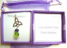 Lucky Scottish Thistle Celtic Charm Pendant Necklace made with Swarovski