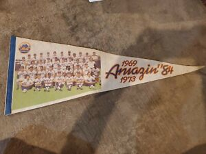 "New York Mets Amazing 84 Pennant Flag For 1984 Season Team Photo ""1969"" ""1973"""