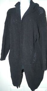 size 10/12  womens long length black hooded chunky knit  cardigan primark