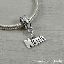 925 Sterling Silver Nana Dangle Bead Charm - fits European Bracelets NEW
