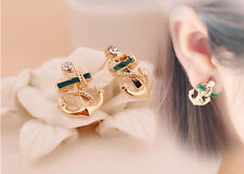 1 Pair Fashion Chic Women Girl Crystal Rhinestone Sailor Anchor Ear Stud Earring
