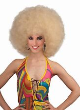 Womens BIG Blonde Afro Wig 60s 70s Costume Pouf Fro Frizzy Hair Halloween Adult