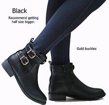 New Women TMu Black Tan Brown Western Ankle Booties Low Heel Boots 5.5 to 10