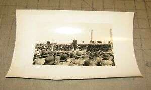 "1930's? 9.5"" x 6"" B&W Photo of Someone Giving a Speech to Soldiers - Military"