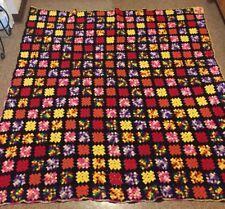 Vintage Black AFGHAN Granny Square Lap Blanket Throw Big Bang/Roseanne Imperfect