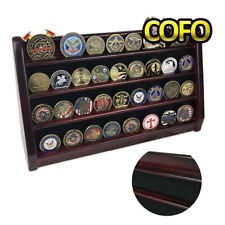 4 Rows Challenge Coin Display Stand Rack Holder Rack Mahogany Finish Military