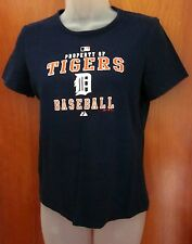 DETROIT TIGERS property small T shirt Majestic baseball tee Old English D retro