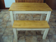 Wooden Farmhouse Kitchen Dining Table And 2 Bench Set sturdy and Solid 120cm