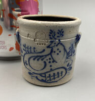 "Rowe Pottery Works Blue Cobalt Deer & Trees Miniature Crock 1992 - 1 3/4"" Tall"
