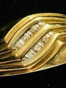 10K REAL GOLD & 6 SMALL BRILLIANTS  REAL DIAMONDS MEN'S RING 5.1 GRAMS