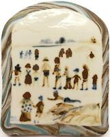 FRED YATES (1922-2008) ORIGINAL HAND PAINTED PORCELAIN PLAQUE FIGURES ON A BEACH