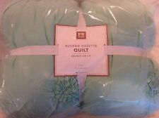 Pottery Barn Teen Ruched Rosette Twin Quilt New! Light Pool Blue