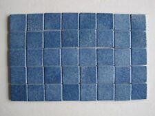 "Loose 1"" square Variegated Ceramic Mosaic Tiles - 40 pieces - Mid Blue"