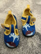ranly and smily water shoes, Little kids Size 10, Blue And Yellow With A Whale