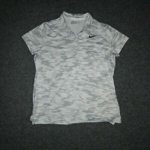 Nike Golf Womens XL Classic White Gray Camo Polo Collared Short Sleeve T-Shirt