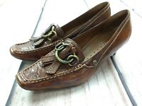 HOGL Softline Brown Leather Pixie Toe Tassel Buckle Heels Shoes Size UK 6.5