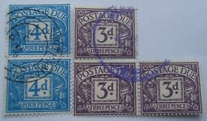 1914 -GB - KGV - Postage Due Stamps -2 x joined 4d and 3 x joined 3d -