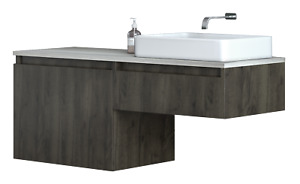 Contemporary Wall Mount Floating Bathroom Vanity with Vessel Sink - 48 Inch