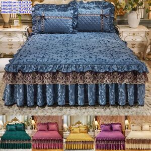 Luxury Velvet Quilted Bedskirt Thicken Warm Bed Cover Fitted Sheet Pillowcase