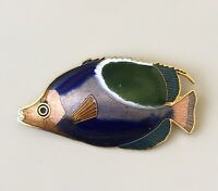 Vintage cloisonne fish brooch pin  enamel on metal