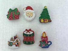Button Covers lot of 6 Christmas Santa Holiday Joy Santa tree candle drums