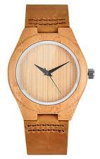 Relojes de mujer de madera Mecan Analógico de Cuarzo Casual Estuche de madera de bambú marrón ternero