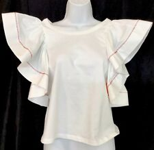 See By Chloe Top White Flared Sleeveless Ruffled Cotton White Stitch Nwt Size Xs