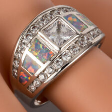 Princess Moissanite Lavender Purple Fire Opal Silver Band Ring Size 6 7 8 9 10