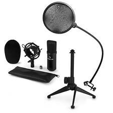 Micrófonos De Condensador + Tripode Soporte Araña 16mm Antipop Cortaviento Negro