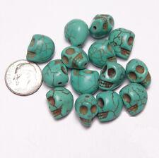 Turquoise Skull Beads Semi Precious Stone Howlite beading crafts goth jewelry
