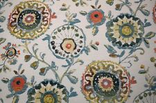Blue Green Large Suzani Floral Iznik Backed Parrot Swavelle Fabric