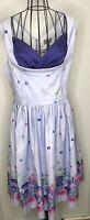 BNWT Lindy Bop Vintage Style Ophelia Purple floral Dress Size 18 1950's