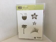 Stampin Up Tropical Party Clear Mount Rubber Stamps Hawaiian Luau Palm Tree