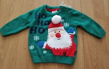 F&F Baby Boys Green Christmas Jumper up to 3 months 0-3 months Santa NEW