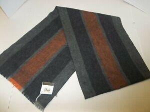 NWT Coach F86547 Men's Varsity Sport Scarf Wool Cashmere Orange/Fog $130