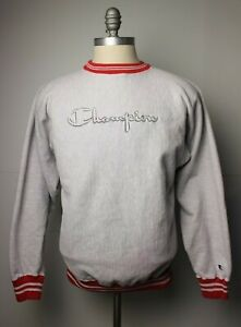 Vintage Mens Champion Reverse Weave Gray Red Ringer Spellout Sweatshirt XL