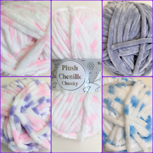 Woolcraft Plush Chenille Chunky Yarn~ 100 grams ~ Various Colours.