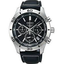 SCNP SSB049P2 Seiko Gents Date Display Chronograph Leather Strap Watch