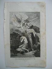 stampa antica antique old print gravure ABRAMO DIO SACRIFICIO FIGLIO  1856