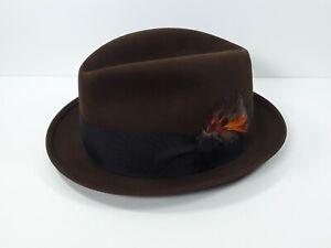 Vintage Royal Stetson Brown Fur Felt Fedora Hat Feather Band Size 7 1/2 Men's
