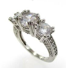 Three Stone Ring Size 6 Rt6 925 Sterling Silver Cz Cubic Zirconia Round
