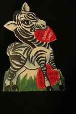 Vintage Zebra Valentine Card c. 1940s