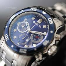 Mens Invicta Pro Diver 48mm Stainless Steel Chronograph 200M WR Blue Dial Watch