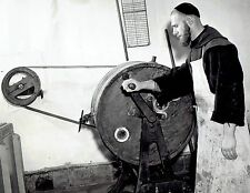 1944 Original Photo by BRANDT Belgium monks working churn machine to make cheese