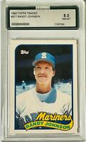 RANDY JOHNSON ROOKIE 1989 TOPPS TRADED CARD #57 AGS GRADED 8 SEATTLE MARINERS RC