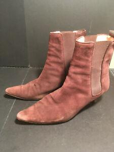 Manolo Blahnik Womens Suede Kitten Heel Ankle Boots Brown Size 39