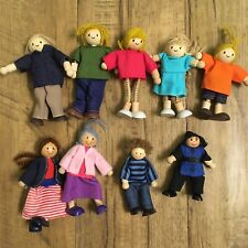 Plan Toys & Melissa & Doug Wooden Dollhouse Poseable People Figures Dolls