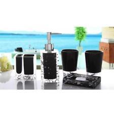 Black 5 Pcs Bathroom Accessory Set Soap Dispenser Lotion Liquid Container
