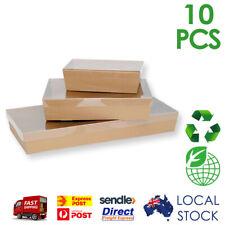 10 x Brown Kraft Corrugated Cardboard Catering Grazing Trays Boxes w/ Window Lid
