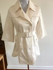 PATRIZIA PEPE WHITE BELTED DOUBLE BREAST 3/4 SLEEVE TRENCH COAT JACKET 42 / M/ L